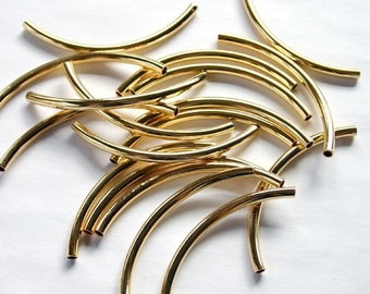 500pcs Metal Beads Gold  Plated Curved Tube 50x3mm