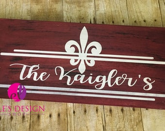 Hand-painted Family Name Wood Decor w/ Fleur De Lis or Hearts