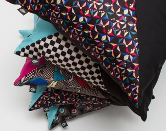 Patchwork cushion 40x40cm Kazaguruma pattern made in France and by hand