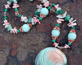SILK ROAD Necklace (Agate, Amazonite, Coral, Malachite, Moonstone, Copper, Czech Glass)