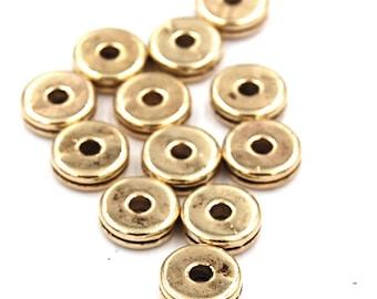 100pcs 8mm Tibetan Style Gold Spacer Beads, Lead Free & Nickel Free, Flat Round,