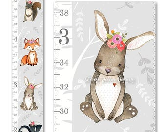 Woodland Growth Chart, Canvas Growth Chart, Woodland Floral Crown Growth Chart, Woodland Decor, Height Chart, Ruler Chart, Nursery Decor