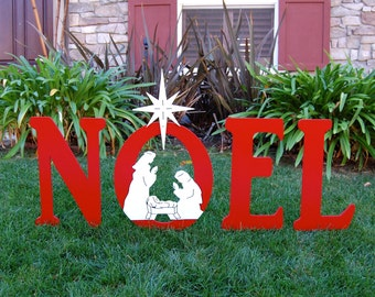 Noel With Christmas Nativity Outdoor Christmas Holiday Yard Art Sign
