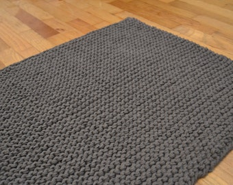 """18"""" x 30"""" Bath mat, kitchen mat, cotton mat, 100% cotton THICK bath mat (4 strands knit rug)"""