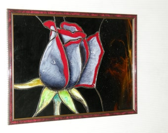 Stained glass panel Black Rose