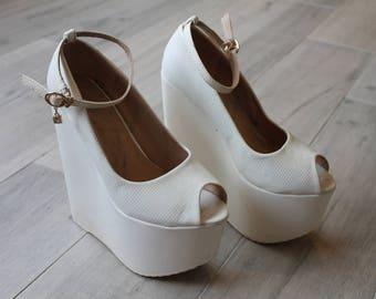 Candies bridal platform shoes (size 6.5)