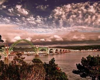 Newport bridge photo, HDR photograph, Red, green, purple, steel, 8 x 10 fine photography print, Newport Sunset