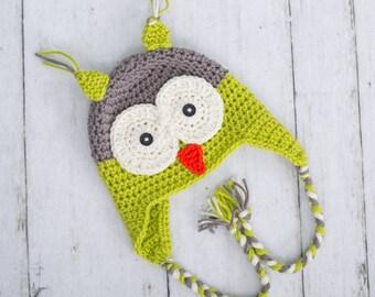 crochet owl hat crochet hat baby boy owl hat baby boy hat toddler boy hat toddler owl hat earflap owl hat newborn owl hat toddler hat