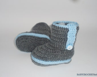 Crochet Baby Boots, gray baby booties, baby shower gift, boots, baby , crochet gray booties, crib shoes, newborn baby booties