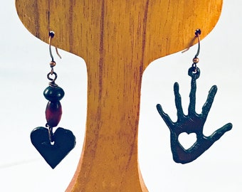 Handmade Earrings, Oxidized Iron Hand and Heart Asymmetrical, Resin and Wood Bead Accents