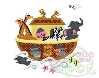 Noah's Ark Baby Animals 4x4 5x7 6x10 Applique Design Embroidery Machine -Instant Download File