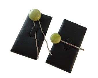 Light Lime Green Hair Fork and Bobby Pin Set, Hair Bun Accessories Natural Stone Hairpin Set, Light Green Cabochon Stone Hair Accessories