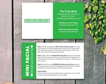 Rodan and Fields Business Cards / Green / Solid Block Color / Mini Facials / Instructions / Color choices available / Digital / Printable