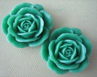 2PCS - Rose Cabochons - Green - 38mm Matte Finish - Great for Rings and Necklaces - Cabochons by ZARDENIA