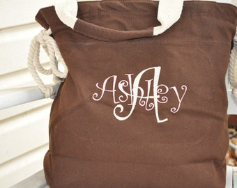 Personalized chocolate brown canvas slouch tote choice of 8 colors
