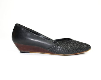 Woven Leather Wedges - Wedge Slip-On Loafer Pump Black Pointed Toe Woven Leather Size 7.5 Man Made Whisper Steps Wooden Kitten Heel Size 40