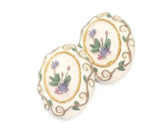 Applied Flower Design Earrings Ceramic Clip On Vintage Floral Springtime