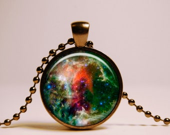 Green Galaxy Necklace. Nebula Space Pendant. Universe Jewelry. Gift for Women and Girls. Free black chain