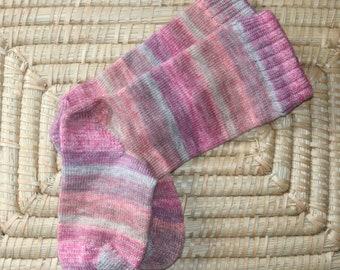 Handmade Wool Socks - Striped Wool Socks - Wool Blend Socks with Heathered Stripes