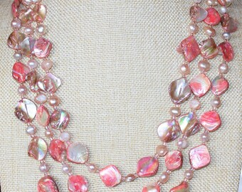 Pink Three Strand Mother of Pearl Baroque Beads & Pearls Statement Wedding Necklace J04