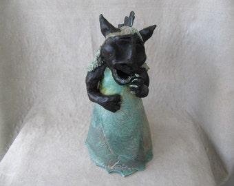 Primitive whimsical laughing raku creature sculpture handsculpted clay