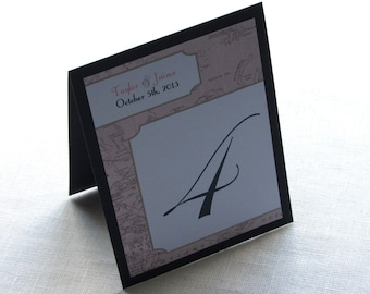 Vintage Map Table Number - Destination Wedding - Tent Layered 10 Numbers