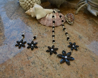 Black, Silver and White Crystal Flower Necklace And Earring Set