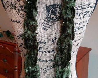 Hunter Green Fashion Scarf/Green Boa Scarf/Arm Knit Scarf/St. Patty's Day Scarf