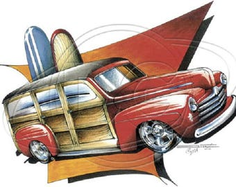 Ford '46- '47 Woody Station Wagon Hot Beach Bum T-shirt 100% Cotton S-XXXL
