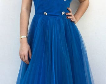 1950s Blueberry Tulle Halter Emma Domb Designer Dress