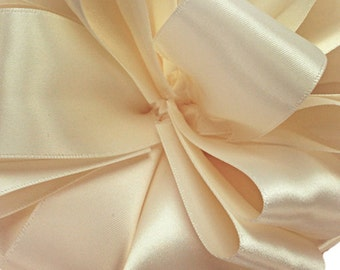 "Satin Ribbon, 1 1/2"" wide, Chardonnay Double Sided, FIFTY YARD ROLL, Offray Double Face Satin Cream, Ivory, Off white #918, Wedding Ribbon"