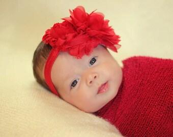 Red Chiffon Newborn Headband - Sweet Valentines Day Baby Headband - Newborn Photo Prop- Chiffon Flower Baby Toddler Child Girls Headband