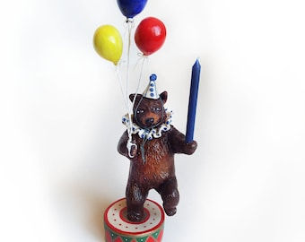 Original Hand Sculpted Circus Bear Cake Topper by Carrie Jackson