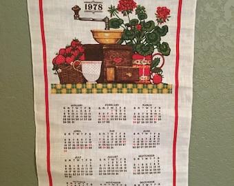 1978 Tea Towel Calendar • Burlap Calendar • Vintage Hanging Calendar