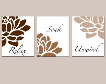 Floral Bathroom Art - Relax, Soak, Unwind - Flowers - Petals - Bathtub - Spa - Set of Three 11x14 Prints - CHOOSE YOUR COLORS
