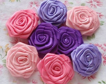 8 Handmade Ribbon Roses (1-1/4 inches) In Deiphinium, Regal Purple, Lt Pink, Fantasy Rose MY-031 -04 Ready To Ship