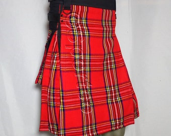 Hybrid Fashion Kilt with Royal Stewart Tartan Cotton Adjustable