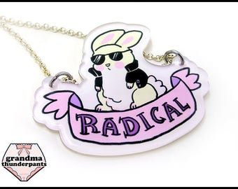 Radical Bun Necklace, Cool Rabbit, Bunny Necklace, Cute Bunny Jewelry