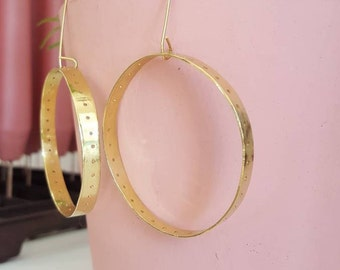 Handmade Brass Dot Cutout Detail Hoop Earrings Minimal Earrings Boho Earrings Brass Hoops