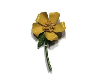 Yellow Long Stemmed Enamel Flower Brooch, 1960s Mod Flower Pin, Flower Power Brooch, Costume Jewelry