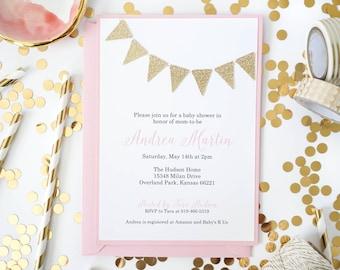 Gold Glitter Bunting invitation, Gold flags invitations, birthday invites for girls, Golden birthday, baptism invitation, christening, First
