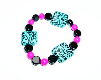 Large Scrolled Turquoise Squares with Black Onyx and Pink Beads Bracelet