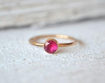 Gold Ruby Ring- Ruby Ring, Dainty Ruby Ring, Ruby Gemstone Ring, Natural Ruby Ring, Stacking Ring, Stackable Ring, Ruby Stacking Ring