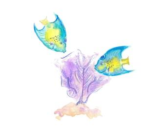 Qeen Angelfish & Purple Sea Fan - Watercolor Print - Caribbean Art
