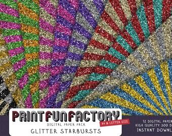Glitter digital paper -  Starbursts glamour glitter sunburst backgrounds - 12 digital papers (#044) INSTANT DOWNLOAD