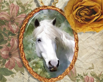 White Horse Camargue Horse Jewelry Pendant or Brooch Handcrafted Ceramic