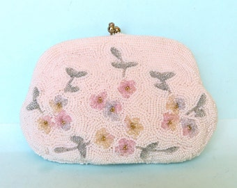 Vintage Bridal White and Pastel Flowers Beaded Purse with Handle/Small White Beaded Purse with Pastel Flowers