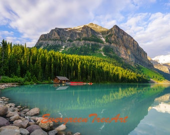 "Lake Louise, canoe launch side, Banff National Park, Alberta, Canada, print, 24"" X 16"""