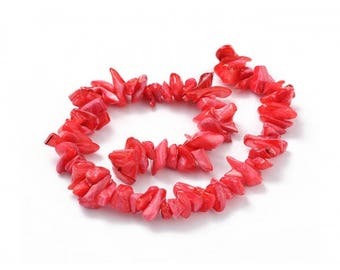 70 color mother of Pearl chips beads Red