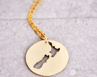 New Zealand Necklace / New Zealand Charm / Aotearoa Necklace / NZ Necklace/Kia Ora/New Zealand Map / New Zealand Pendant /New Zealand Gifts